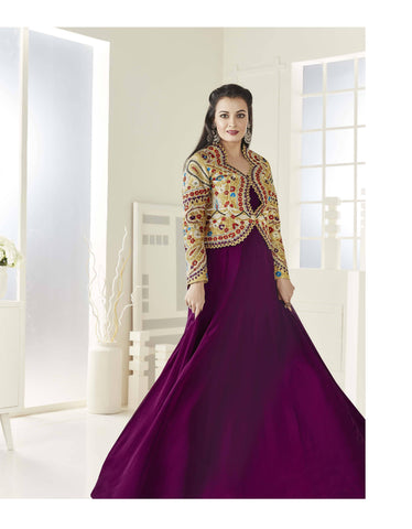 Reeva Trendz Women's Purple Heavy Semi-Sttiched Salwar Suit