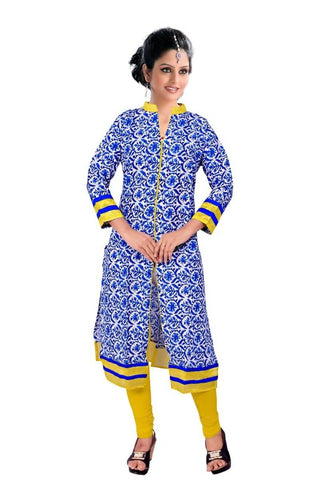 State Blue & Yellow Kurtis Quality Cotton Cambric Print