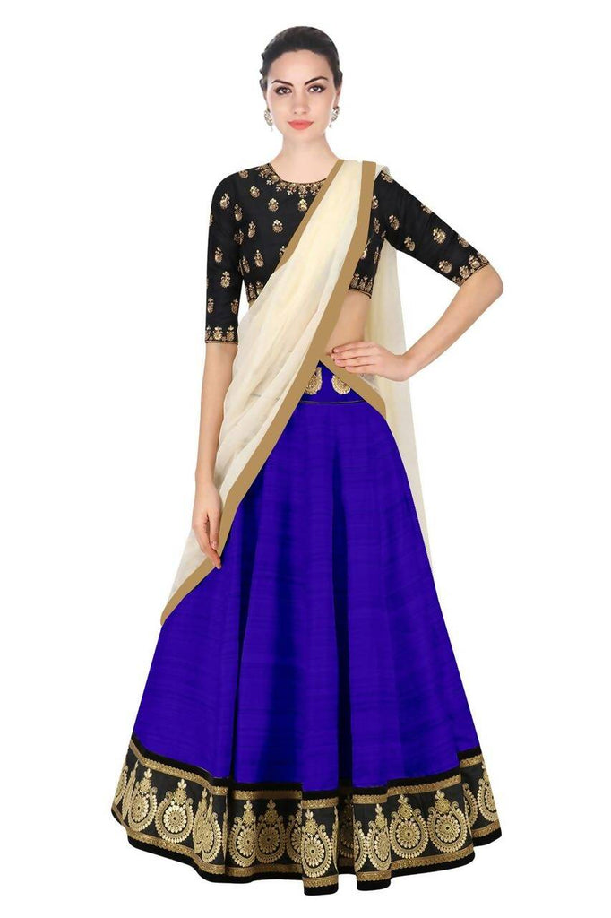 Madhav design Embroidered Semi Stitched Lehenga, Choli and Dupatta Set  (Light Blue, Black)