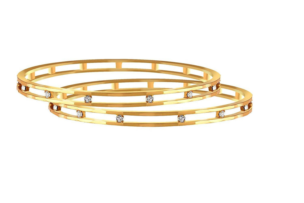JFL - Traditonal Ethnic One Gram Gold Plated Austrian Diamond Designer Bangle for Women & Girls.