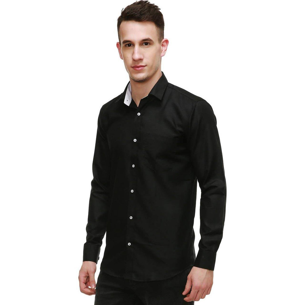 NIMEGH BLACK COLORED COTTON CASUAL SOLID SHIRT FOR MEN
