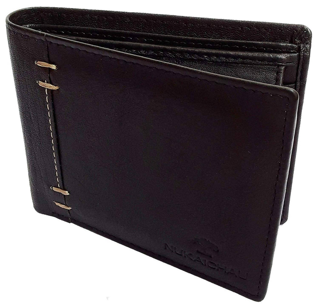 NUKAICHAU Black Single Fold Men's Leather Wallet