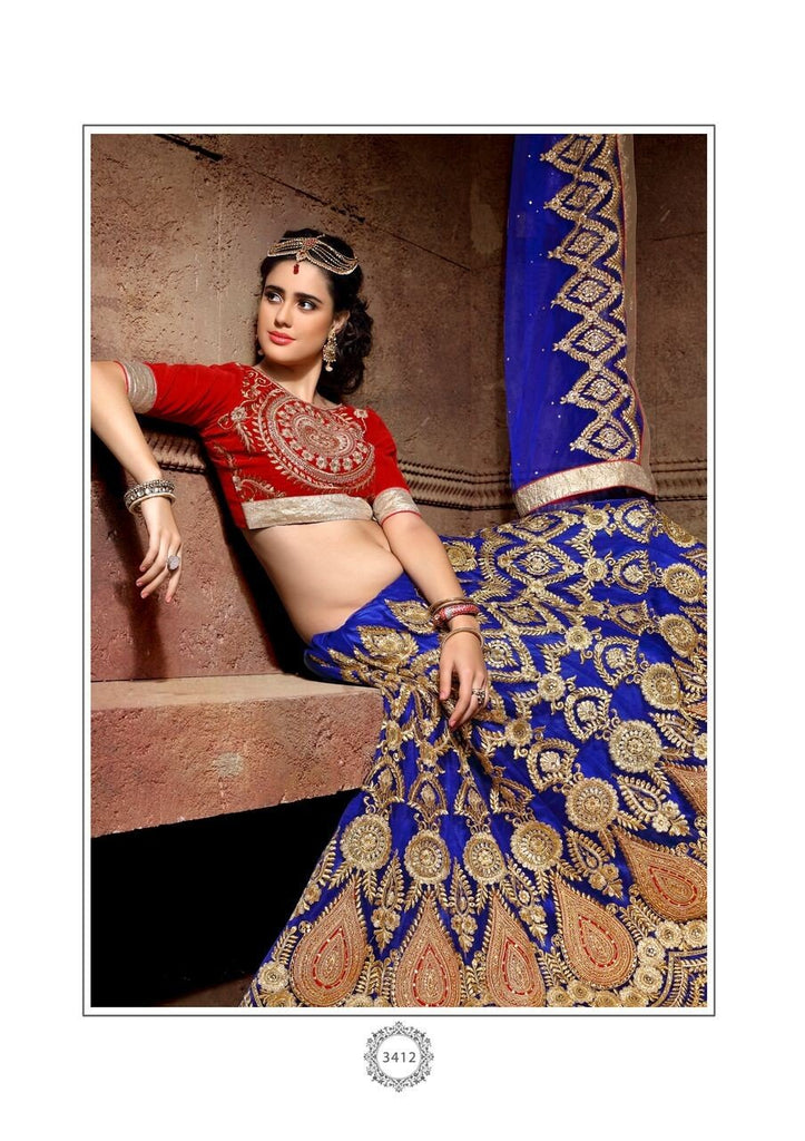 Aasvaa Charming Women's Embroidered Net Lehenga Choli With Un-Stitched Blouse (NMRLA3412_Blue_Free Size)