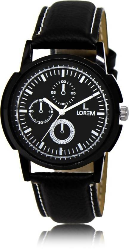 LOREM LR13 Black-Round Multifunction Look Dial Leather Watch - For Men