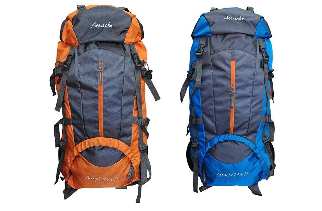 Attache 1021R Climate Proof Rucksack, Hiking Backpack 75Lts (Orange & Blue) Set of 2 With Rain Cover