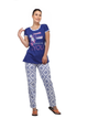 Ladies Stylish And Comfortably Soft Printed Nightsuit-SW 228 N S BLUE