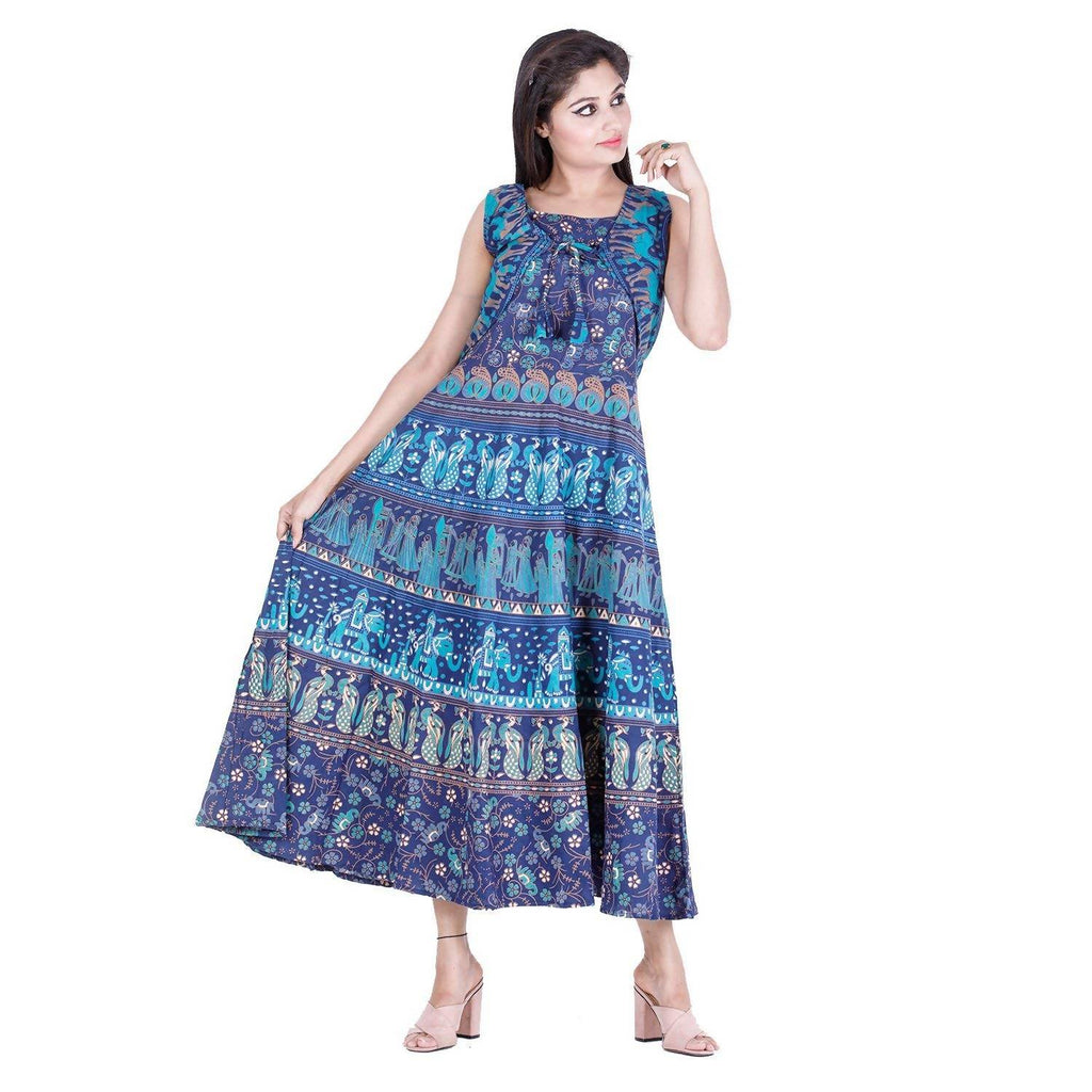DHRUVI Party and Casual Wear Free Size Jaipuri Print Long Cotton Maxi Dress for Women (with Front Shrug Or Jacket, up to XXL Size)
