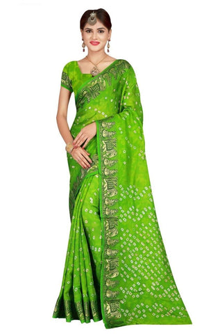 HARSHITA CREATION ART SILK GREEN HAND WOWEN BANDHANI SAREE