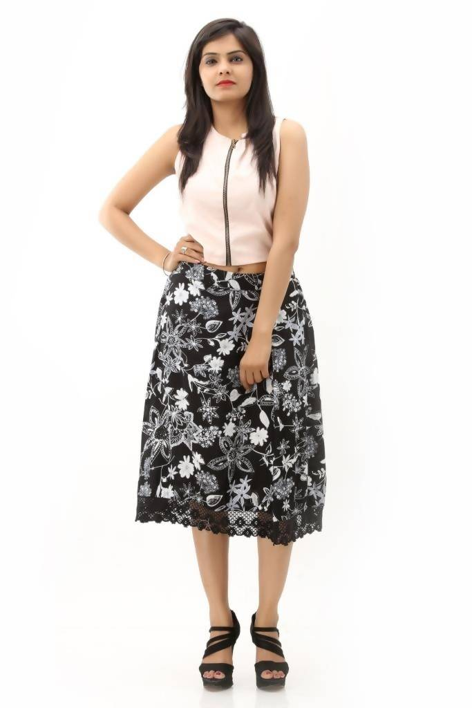 Matargashti Black Rayon Straight Skirt