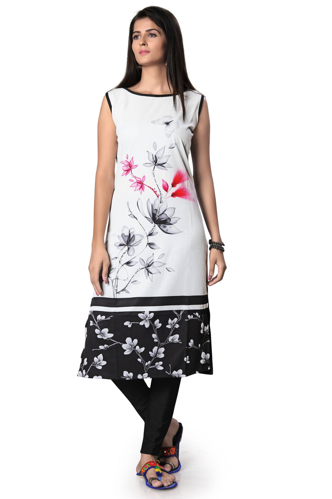 Harshita Creation Black & White Color American Crepe Printed Casual Kurti For Women