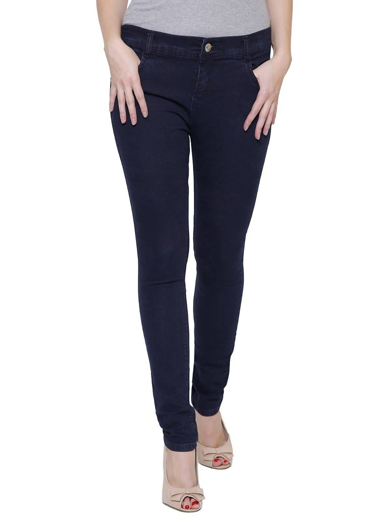 Govil, Women Skinny Fit, Navy Blue, Dobby Denim Jeans