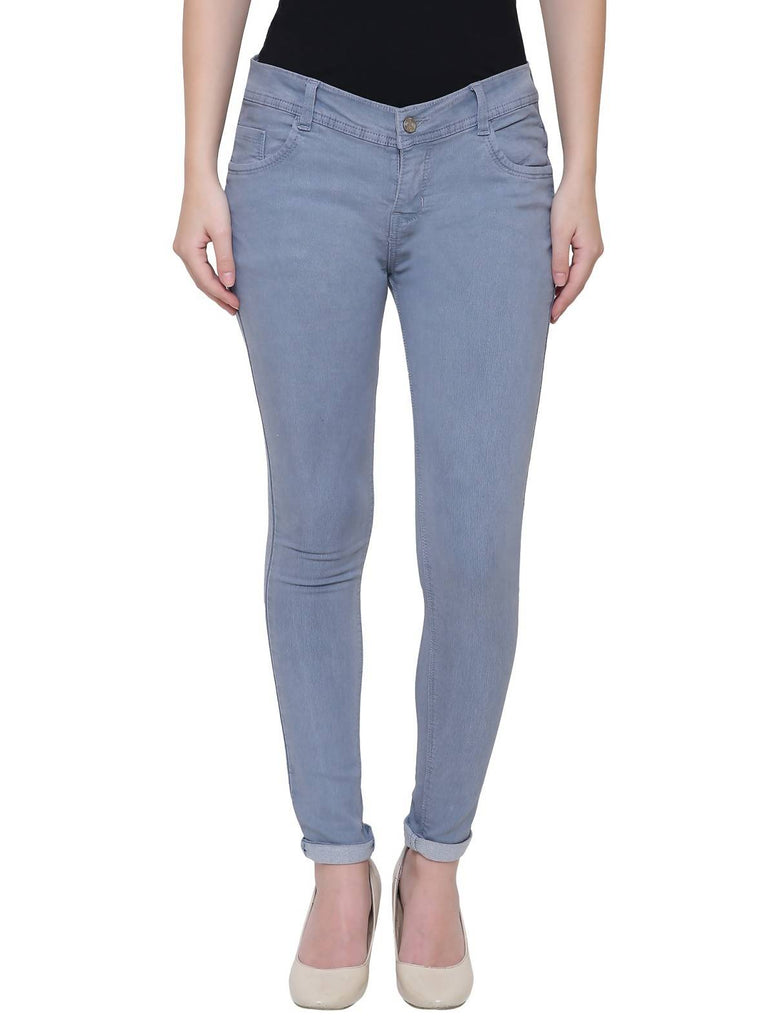 Pavis, Women Skinny Fit, Grey, Dobby Denim Jeans