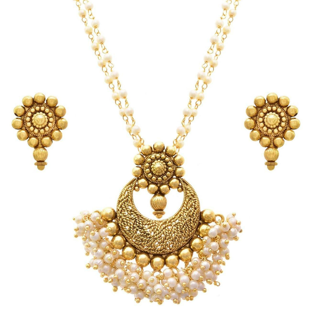 JFL - Jewellery for Less Copper Alloy Traditional Ethnic Antique Designer Pearl 1g Gold Plated Pendant Set with Chain for Women