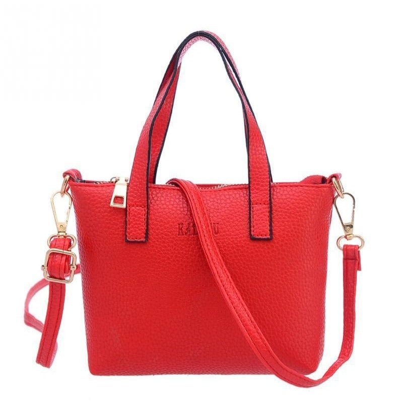 Red New Fashion High Quality Branded Soft Leather Tassel Tote Handle Bags