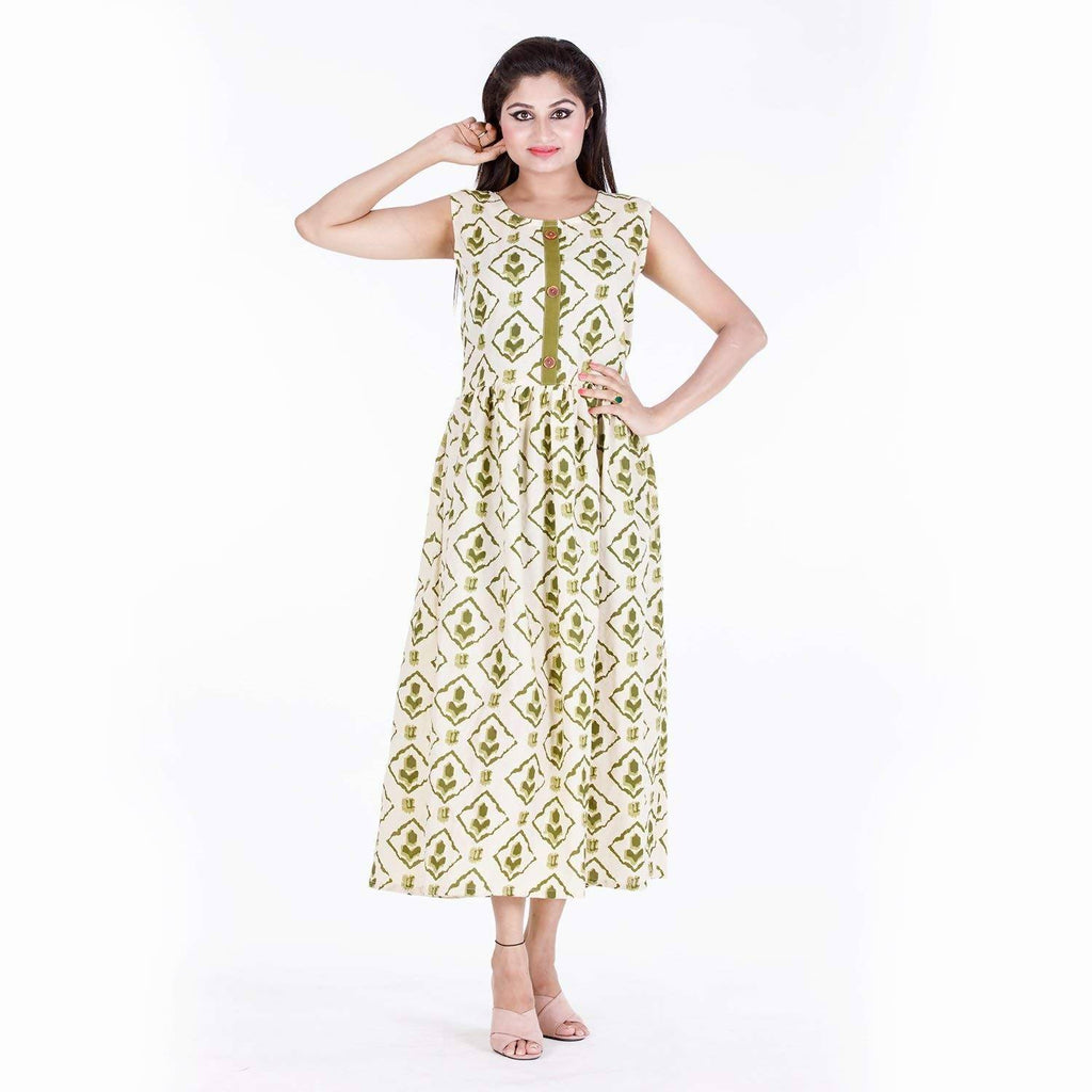 Dhruvi Floral Print Rayon Women's Long Maxi Dress With Attached Sleeve (Free Size)