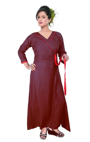 Long Maroon Gown Semi-Stitched Reyon