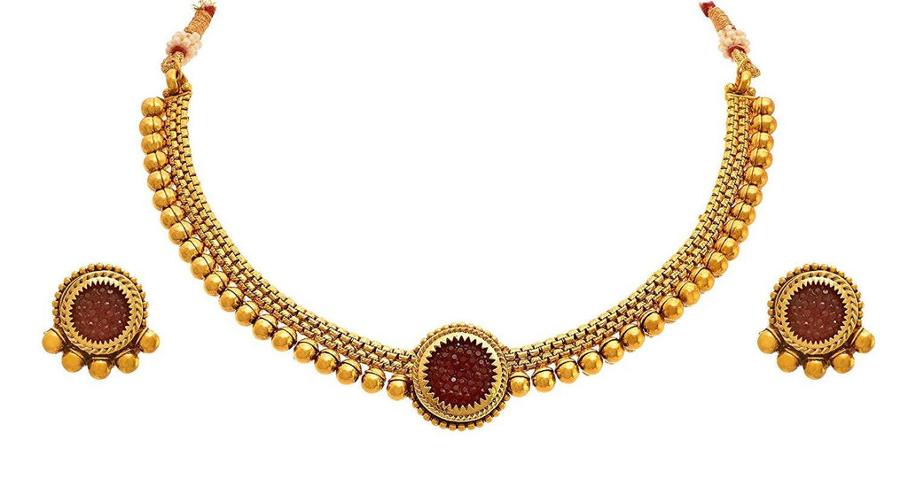 JFL - Traditional Ethnic One Gram Gold Plated Bead Designer Necklace Set with Earring for Women and Girls.