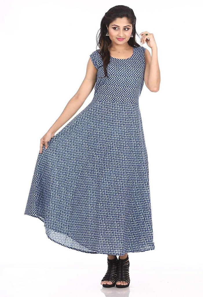 Dhruvi Women's Cotton Maxi Long Dress with Attached Sleeve (DM31_Free, Blue)