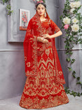 Red Pure Silk and Velvate A-Line Semi-Stitched Lehenga Choli