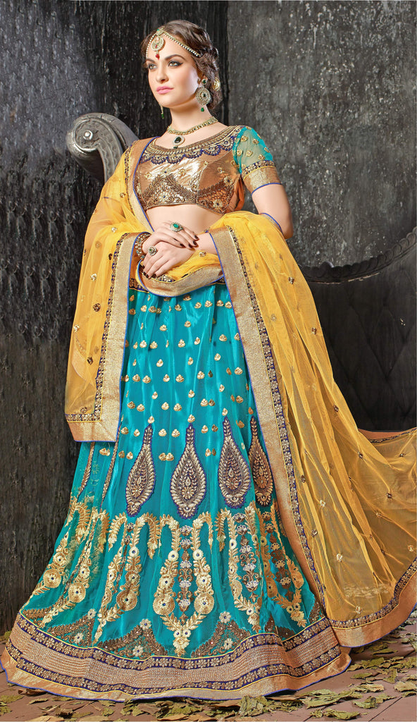 Aasvaa Worthy Women's Embroidered Net Lehenga Choli With Un-Stitched Blouse (Dhupian Silk_Blue_Free Size)