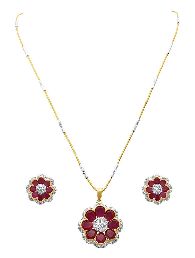 JFL - Traditional Ethnic Floral One Gram Gold Plated Diamond Stone Designer Pendant Set for Women & Girls.