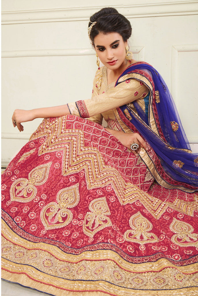 Aasvaa Appealing Women's Embroidery, Stone Net Lehenga Choli With Un-Stitched Blouse (NMMYA427_Red_Free Size)