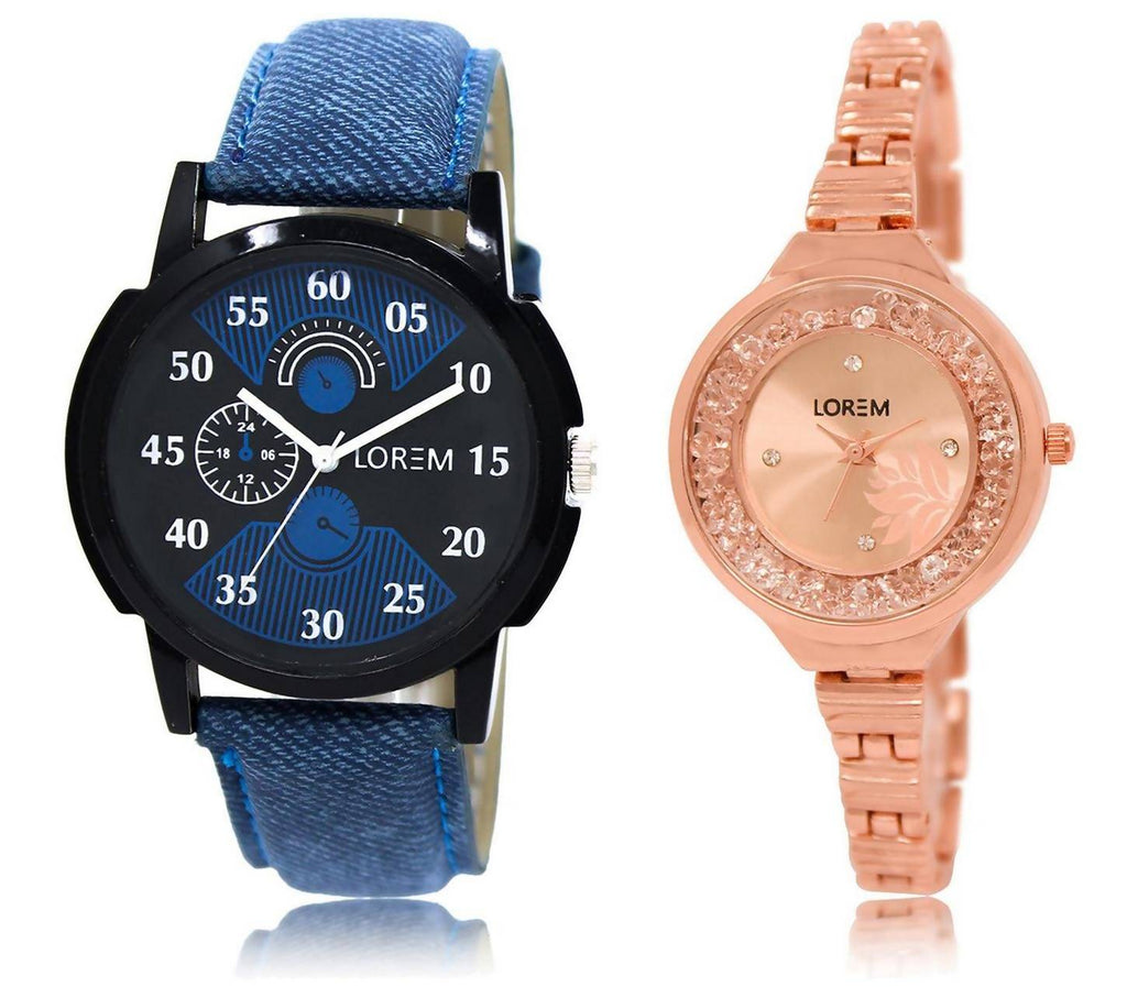 LOREM LR2-225 Stylish Rose Gold & Black Round Boy's & Girl's Metal Bracelet & Leather Watch - For Men & Women