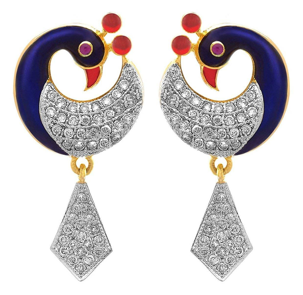 JFL- Fusion Ethnic One Gram Gold Plated Meenakari Enamel Peacock Cz American Diamond With Red/Gold Crest Designer Earrings for Women & Girls.