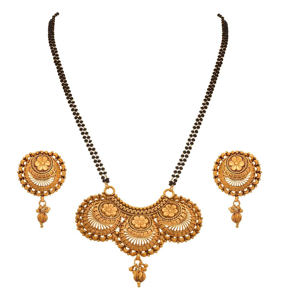 JFL -Traditional Ethnic One Gram Gold Plated Floral Designer Mangalsutra with Double Black Beaded Chain for Women.