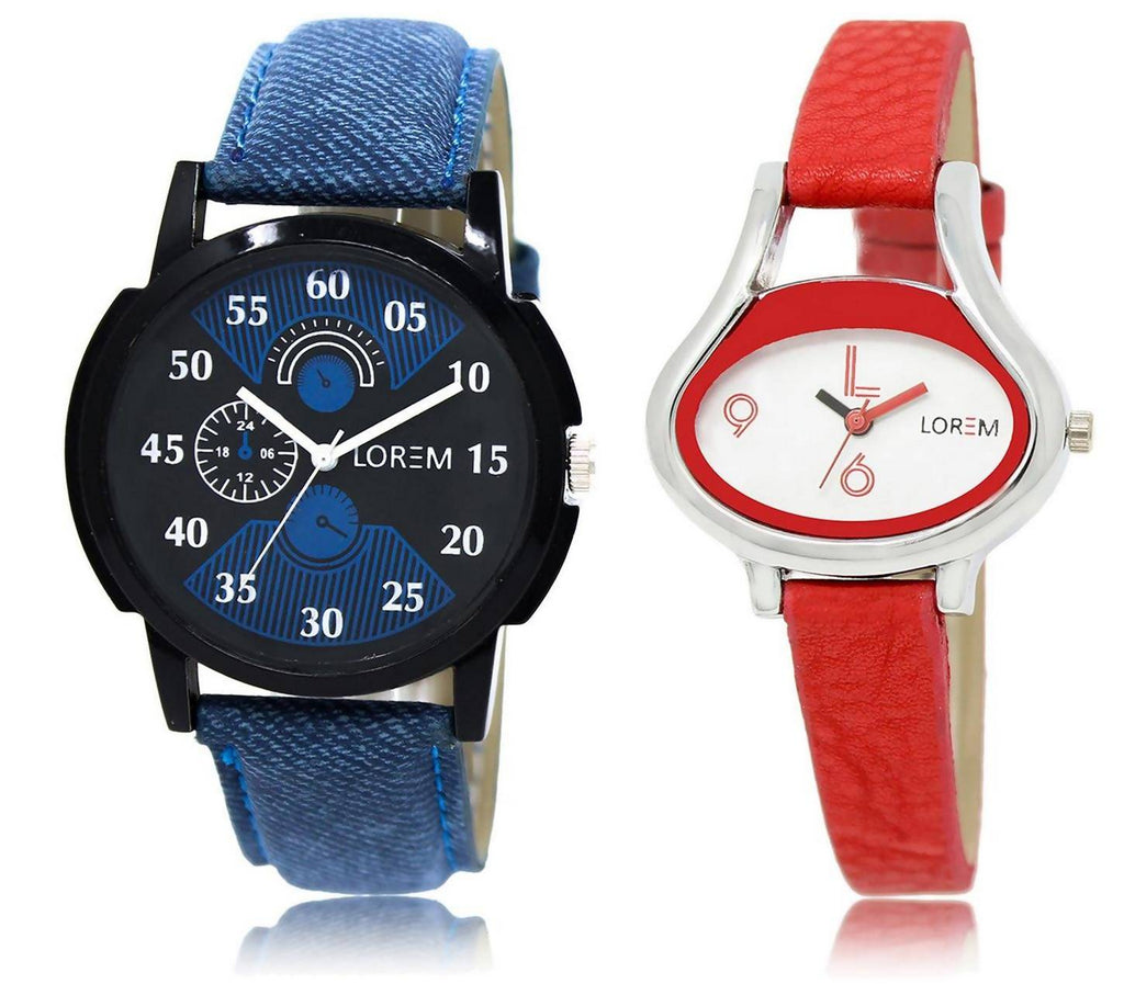LOREM LR2-206 Stylish White & Black Oval & Round Boy's & Girl's Leather Watch - For Men & Women