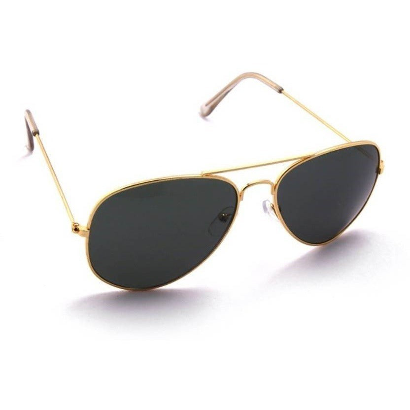 Black Aviator Golden Sunglass For Men