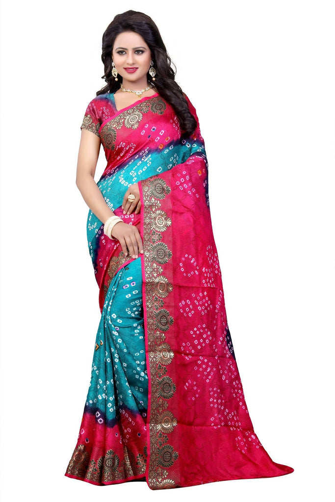 HARSHITA CREATION ART SILK PHIROJI & PINK HAND WOWEN BANDHANI SAREE
