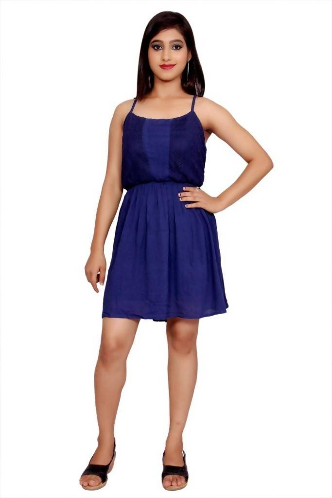 Matargashti Blue Net Regular Dress