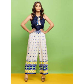Psyna Dots Printed Palazzos with a Multicolor Base for Ladies