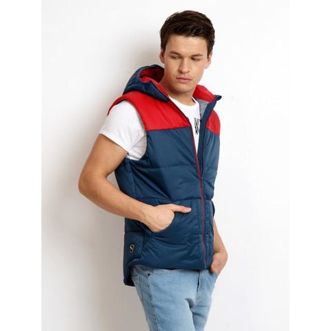 Puma Men Blue & Red Sleeveless Hooded Jacket