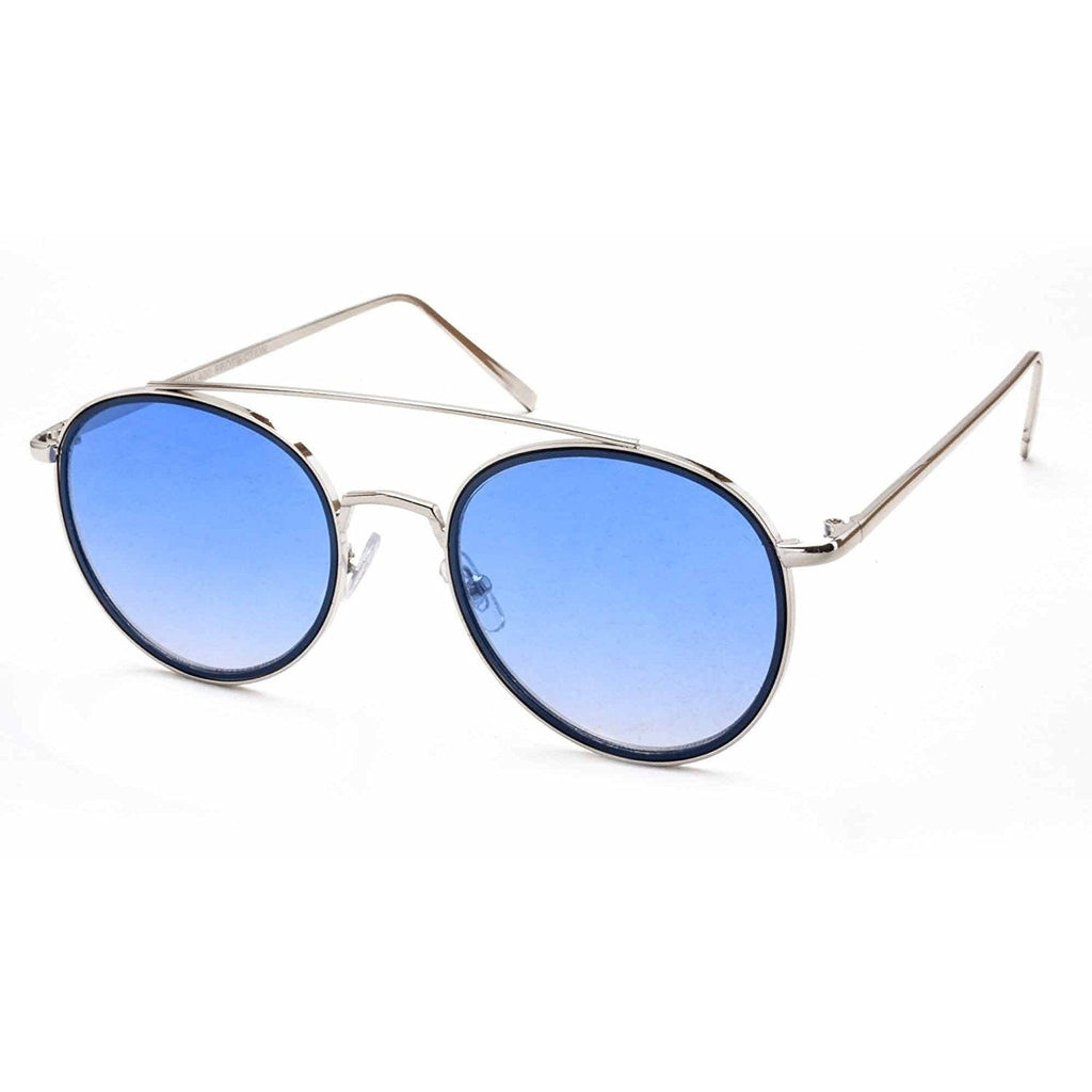 Off Blue Round Silver Sunglasses For Men