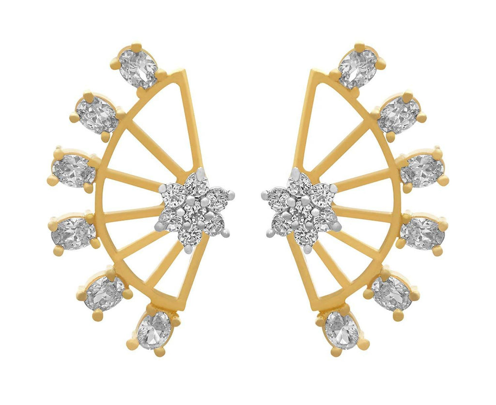 JFL - Traditional Ethnic Fusion Cz American Diamond Earcuff Earrings for Women and Girls - Two in One