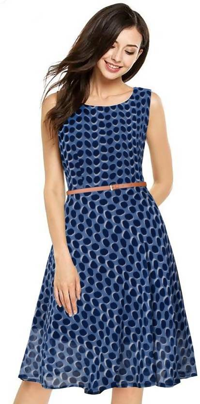 Harshita Creation Women's Fit and Flare Blue Dress