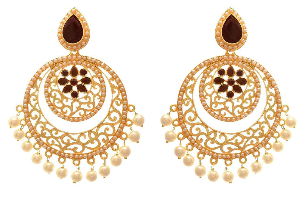 JFL - Traditional and Ethnic One Gram Matt Gold Plated Stone & Pearls Designer Earring for Girls and Women.