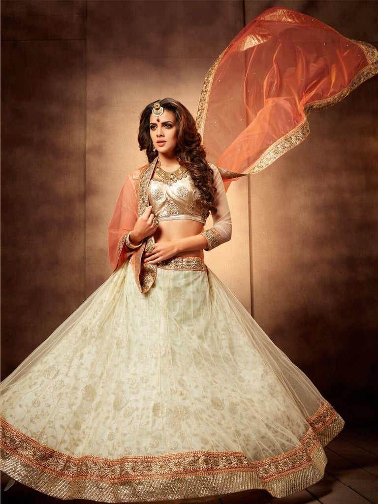 Aasvaa Marvellous Women's Embroidered Net Lehenga Choli With Un-Stitched Blouse (NMMJA7001A_White And Peach_Free Size)