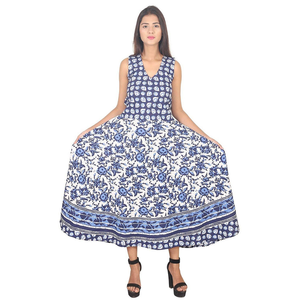 Dhruvi Designer Floral Print Cotton Women's Long Maxi Dress with Attached Sleeve (Free Size)