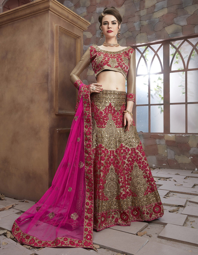 Aasvaa Charming Women's Embroidery, Stone Rai Dana Lehenga Choli With Un-Stitched Blouse (MIBB108_Gold_Free Size)