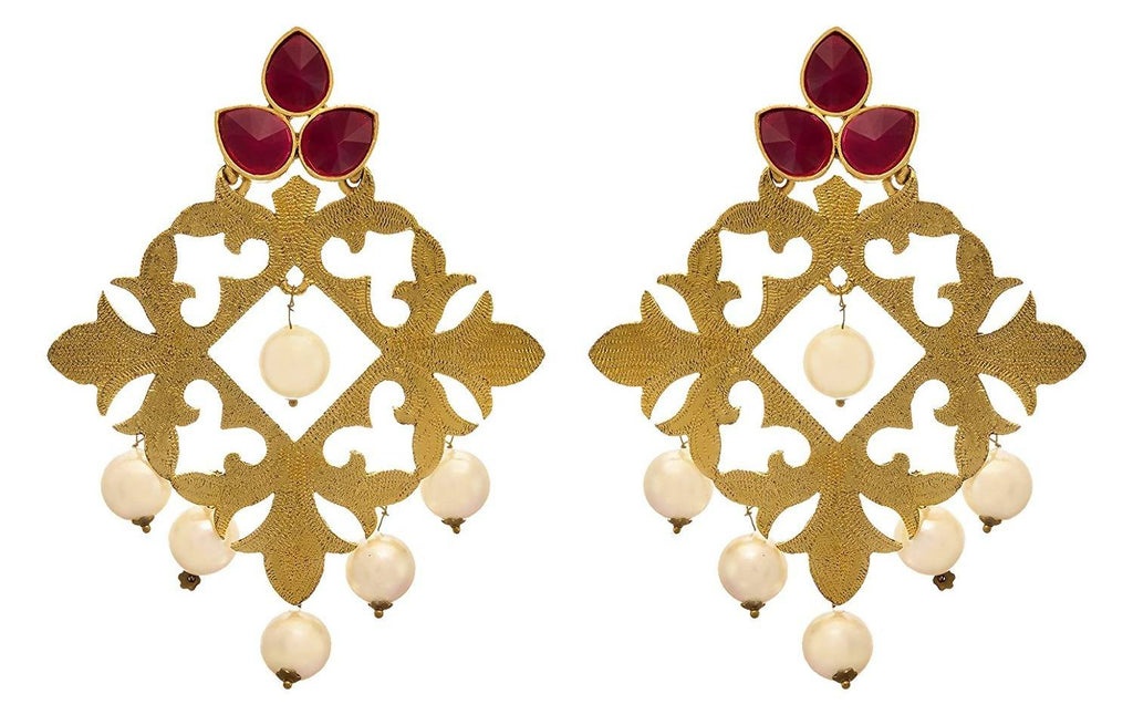 JFL - Traditional Ethnic One Gram Gold Plated Floral Designer Earring for Girls & Women.