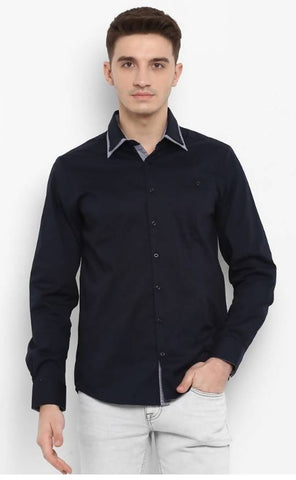 Mixtakes Navy Blue Cotton Casual Shirt