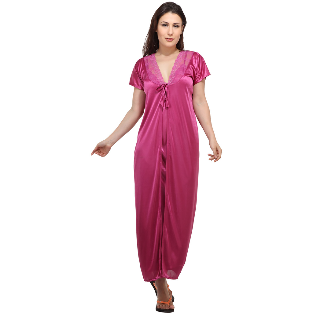 2 Pcs Satin Full-Length Pyjama & Top Nightwear SW 2021 N S