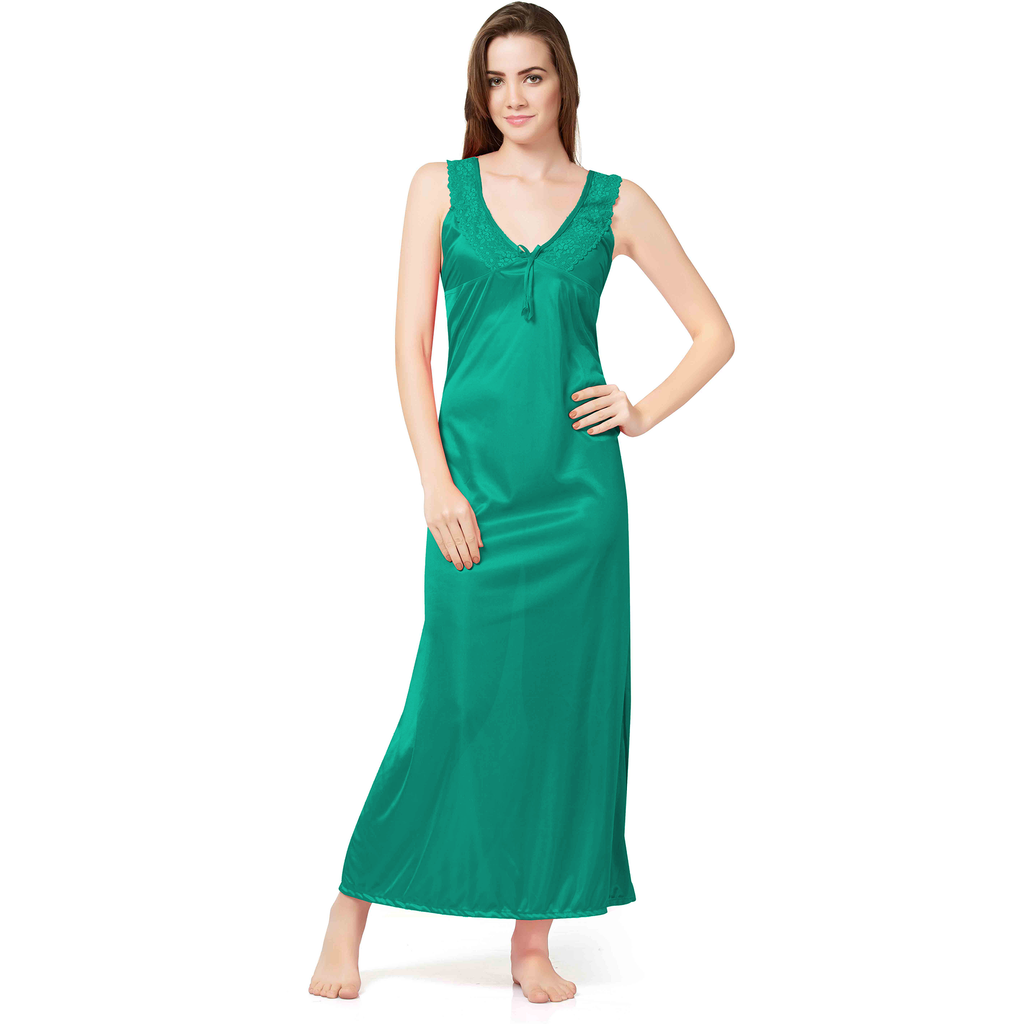 Women Two Pcs Green Satin Full length deep neck broad belt Bed room Nighty-SW 2106