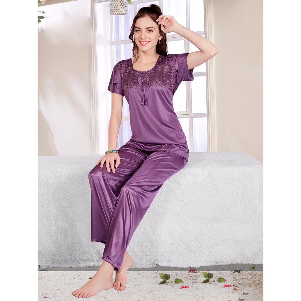 2 Pcs Satin Full-Length Pyjama & Top Nightwear SW 2118 N S