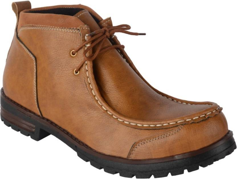 Goosebird Stylish Synthetic Leather Boots Boots For Men  (Tan)