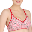 Red bordered non-padded Sag free Cotton Bra Sets