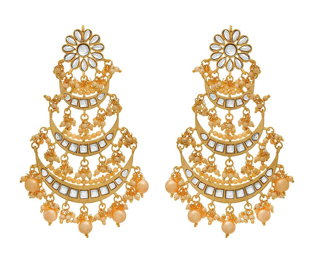 JFL - Traditional Ethnic One Gram Gold Plated Kundan Chandbali Earring for Girls and Women.